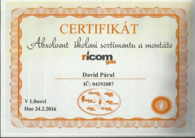 Certifikát RicomGas
